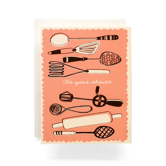 "Vintage Utensils ""For your Shower"" Greeting Card"
