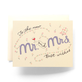 Vintage Embroidery Mr. and Mrs. Greeting Card
