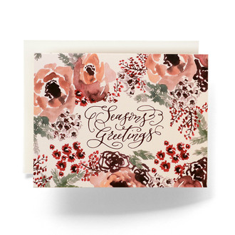 Winter Botanical Seasons Greetings Holiday Card