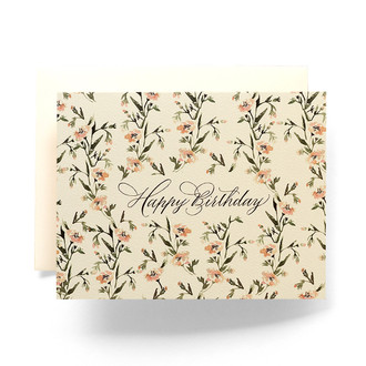 Wallpaper Floral Happy Birthday Greeting Card