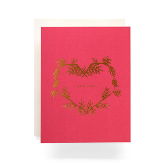 Botanical Wreath Love You Greeting Card