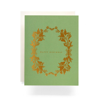 Botanical Wreath Happy Birthday Greeting Card