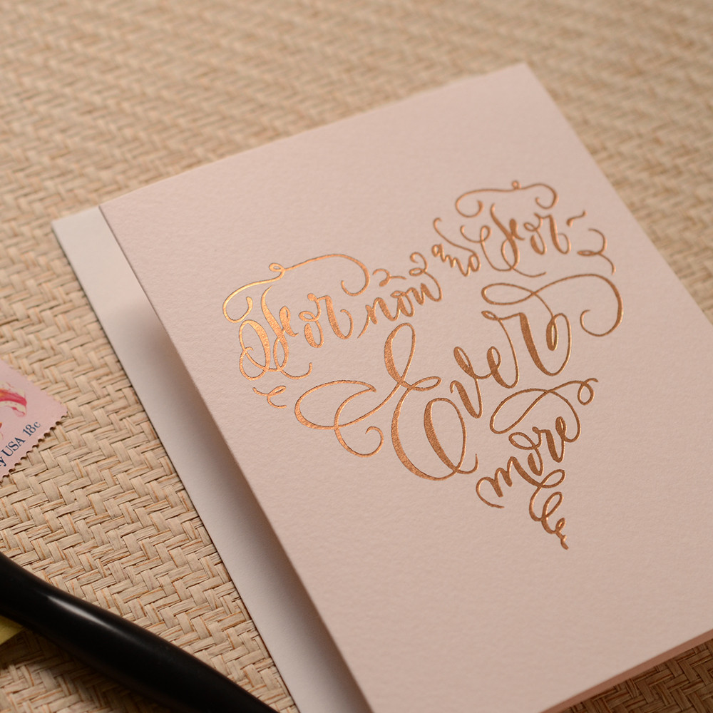 Calligraphy Ever More Heart Greeting Card Antiquaria