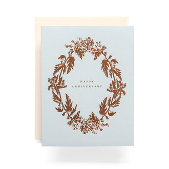 Botanical Wreath Happy Anniversary Greeting Card