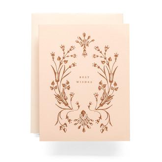 Botanical Wreath Best Wishes Greeting Card
