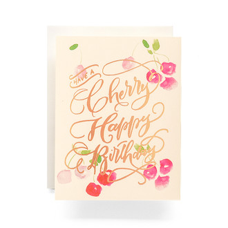 Cherry Happy Birthday Greeting Card