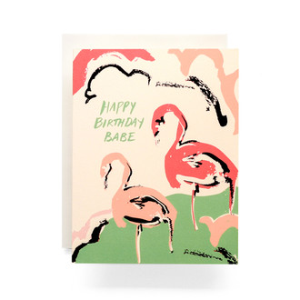 Happy Birthday Flamingo Greeting Card