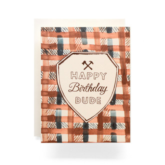 Happy Birthday Dude Plaid Greeting Card