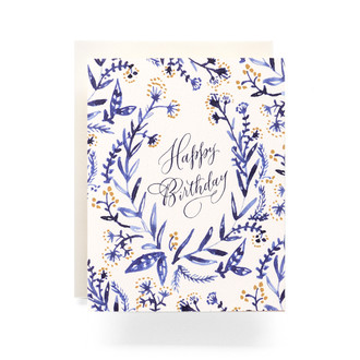 Cobalt & Canary Happy Birthday Greeting Card