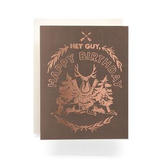 Happy Birthday Hunting Crest Greeting Card, smoke