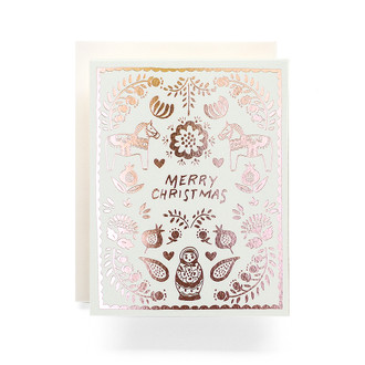Scandinavian Merry Christmas Greeting Card, Rosegold Foil