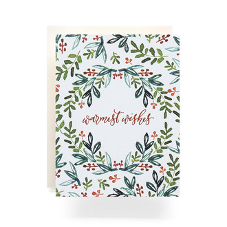 Folk Wreath Warmest Wishes Greeting Card