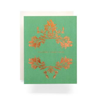 Botanical Wreath Seasons Greetings Greeting Card