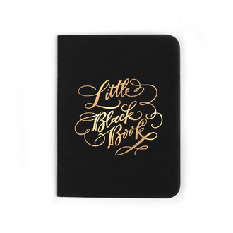 """Little Black Book"" Gold Foil Notebook, Night"