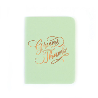 """Green Thumb"" Gold Foil Notebook, Mint Green"