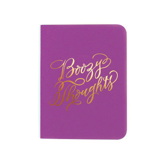"""Boozy Thoughts"" Gold Foil Notebook, Plum"