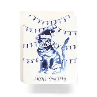 Indigo Meowy Christmas Greeting Card