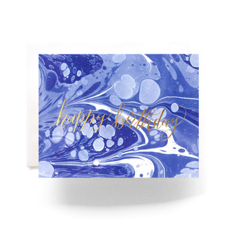 Marble Birthday Greeting Card, blue