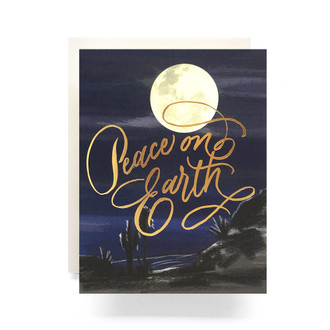 Peace on Earth Moon Greeting Card
