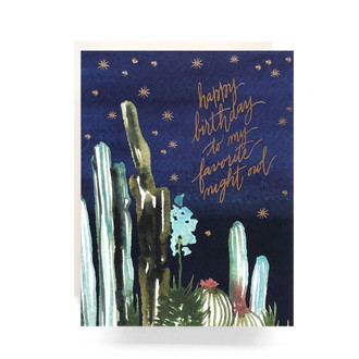 Night Cactus Birthday Greeting Card