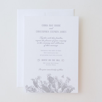 """Vintage Cactus"" Letterpress Invitation"