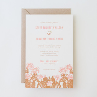 """Desert Rose"" Letterpress Invitation"