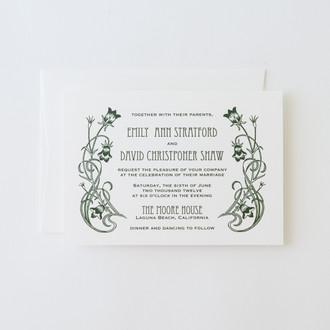 """""""Art Nouveau"""" Letterpress Invitation"""