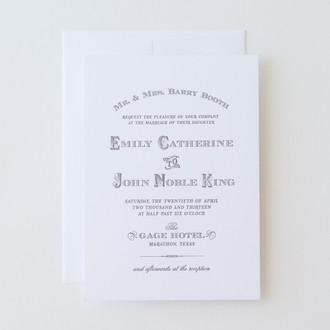 """Vintage West"" Letterpress Invitation"