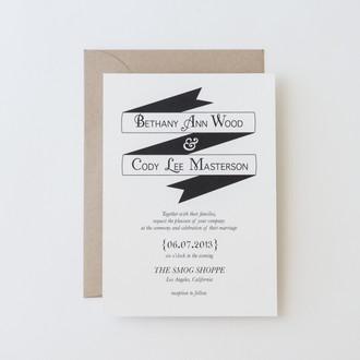 """""""Modern Banner"""" Letterpress Invitation"""