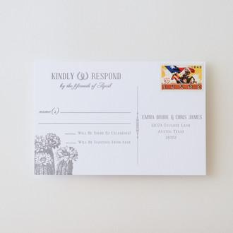 """Vintage Cactus"" Letterpress Reply Postcard"