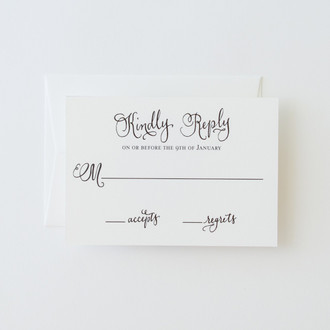 """Vintage Calligraphy"" Letterpress Reply Card"
