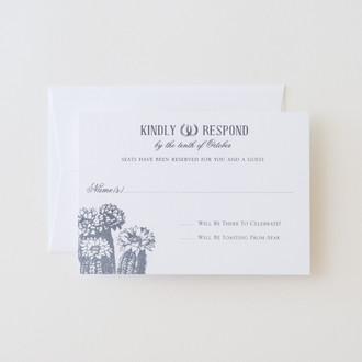 """Vintage Cactus"" Letterpress Reply Card"