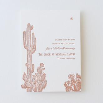 """""""Vintage Cactus"""" Letterpress Reception Card"""