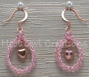 Rose Gold Heart Mesh Teardrop Earrings