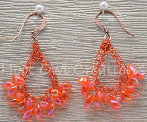 Fluorescent Orange Magatama Teardrop Earrings