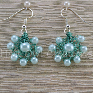 Cyan Pearl Cluster Earrings