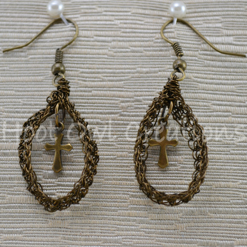 Bronze Cross Mesh Teardrop