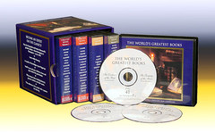 3.28 GB , About 70 Hours, Mp3 Format  One hundred audio sessions on 1 DVD  that detail the genius of each of 100 great books including the background of the author, a concise yet detailed abridgement of the books contents, the books place in and impact on world history and events.   The Audio 100 Greatest Books Titles:   1. The Iliad  2. The Odyssey  3. The Aeneid  4. Beowulf  5. The Divine Comedy  6. Travels of Marco Polo  7. The Canterbury Tales  8. Don Quixote  9. Paradise Lost  10. The Pilgrims Progress  11. Robinson Crusoe  12. Moll Flanders  13. Gullivers Travels  14. Tom Jones  15. Candide  16. Ancient Mariner  17. The Tragedy of Faust  18. The Lady of the Lake  19. Ivanhoe  20. Pride and Prejudice  21. Frankenstein  22. The Red and the Black  23. Last of the Mohicans  24. The Three Musketeers  25. Carmen  26. Jane Eyre  27. Wuthering Heights  28. Vanity Fair  29. David Copperfield  30. A Tale of Two Cities  31. Great Expectations  32. The Scarlet Letter  33. Camille  34. Moby ~censored~  35. Madame Bovary  36. Idyls of the King  37. Silas Marner  38. Middlemarch  39. Les Miserables  40. Fathers and Sons  41. Crime and Punishment  42. Brothers Karamazov  43. Little Women  44. Far from the Madding Crowd  45. The Adventures of Tom Sawyer  46. The Prince and the Pauper  47. Adventures of Huckleberry Finn  48. A Connecticut Yankee in King Arthurs Court  49. Anna Karenina  50. War and Peace  51. The Return of the Native  52. Tess of the DUrbervilles  53. The Portrait of a Lady  54. The Turn of the Screw  55. Treasure Island  56. The Picture of Dorian Gray  57. The Time Machine  58. Dracula  59. The Way of All Flesh  60. Call of the Wild  61. Babbitt  62. An American Tragedy  63. The Great Gatsby  64. A Farewell to Arms  65. For Whom the Bell Tolls  66. The Old Man and the Sea  67. The Maltese Falcon  68. Of Mice and Men  69. The Grapes of Wrath  70. To Kill a Mockingbird  71. The Republic  72. The Prince  73. The Social Contract  74. The Wealth of Nations  75. The Origin of Species  76. Das Kapital  77. The Decline of the West  78. Prometheus Bound  79. Oedipus Rex  80. The Taming of the Shrew  81. Hamlet  82. Othello  83. Macbeth  84. The Tempest  85. Tartuffe  86. Peer Gynt  87. A Dolls House  88. The Importance of Being Earnest  89. Cyrano de Bergerac  90. The Cherry Orchard  91. Our Town  92. Death of a Salesman  93. Nicomachean Ethics  94.Meditations  95. Critique of Pure Reason  96. The World as Will and Idea  97. Nature  98.Self Reliance  99. Walden  100. How We Think