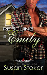 """Renting out the apartment over his garage shouldn't be a life-changing decision, but when Delta soldier Cormac """"Fletch"""" Fletcher meets Emily Grant, he feels an instant connection. He can't stand the thought of Emily and her young daughter living anywhere unsafe. Offering cheap rent is a small price to pay for their safety…and Fletch's peace of mind.  Being a single mother is difficult at best, but renting the extremely affordable space from Fletch makes Emily's life a lot easier…until it doesn't. Suddenly all the money she's saving thanks to Fletch's generosity is going into the hands of a blackmailer. And what little food Emily can afford goes to her daughter Annie, so the girl doesn't go to bed hungry…leaving Emily weaker and weaker.  When miscommunication has Emily assuming Fletch is in on the blackmail, he not only has to gain her trust, but also deal with a man holding a grudge against Fletch and his entire Delta Force team. A task made more difficult when the dangerous man gets his hands on Emily and Annie...  ** Rescuing Emily is the 2nd book in the Delta Force Heroes Series. Each book is a stand-alone, with no cliffhanger endings."""