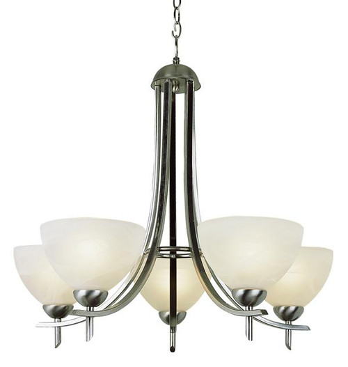 5 Light Brushed Nickel Chandelier 8175BN