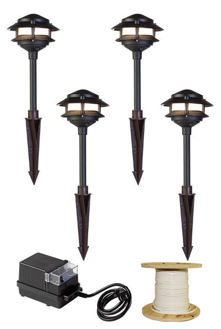 LED 4 Pathway Light 2 Tier Pagoda Kit (shown in black)