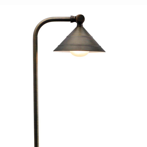 LED Circular Shade Brass Pathway Light LED-PPG031 Bronze (Full View)