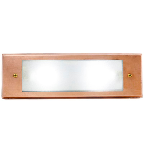 Raw Copper Recessed Rectangular Open Face Step Light PRGC-HL-DV (shown with cool white bulb)
