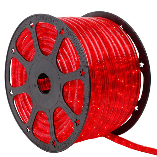 120V 3 Wire Incandescent Red Chasing Rope Light - 150 Ft