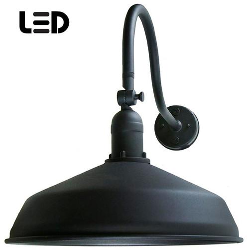 Black Metal Gooseneck Barn Light - LED Barn Lighting - ADLXSV925