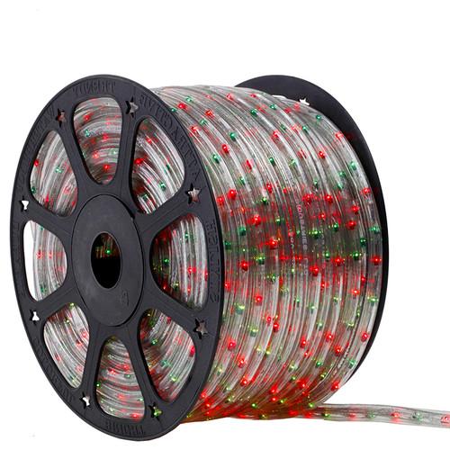 120V 3 Wire Incandescent Bi-Color Green & Red Chasing Rope Light - 150 Ft