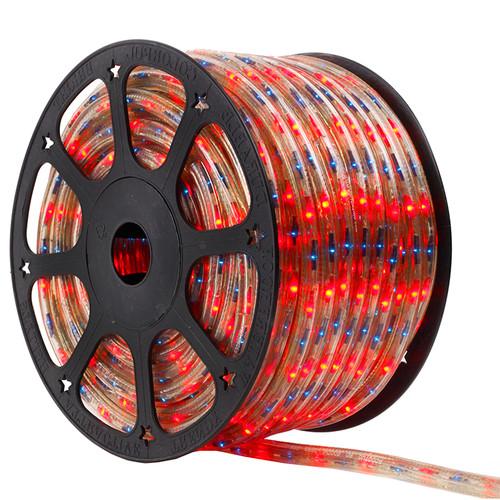 120V 3 Wire Incandescent Blue & Red Chasing Bi-Color Rope Light - 150 Ft