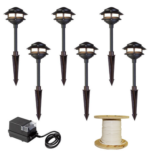 LED 6 Pathway Light 2 Tier Pagoda Kit (shown in black)