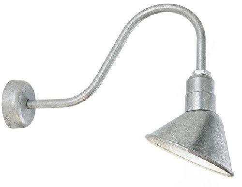 "Angle Shield Gooseneck Sign Light (shown in galvanized finish and 18"" sign arm)"