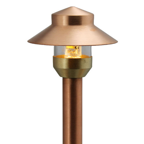Raw copper mini china hat path light area light pami for Copper landscape lighting